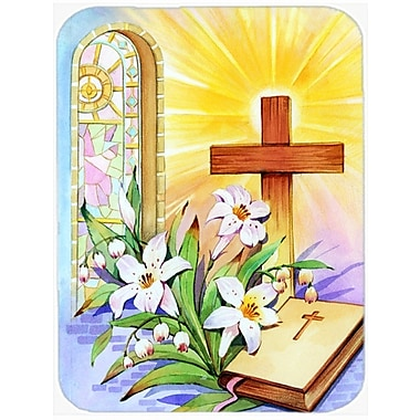 Caroline's Treasures Easter Cross and Bible in Stain Glass Window Glass Cutting Board