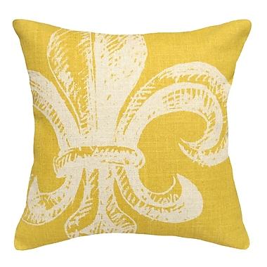 123 Creations Modern Fleur de Lis Linen Throw Pillow; Mustard