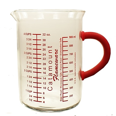 Catamount Glass 4 Cup Glass Measuring Cup w/ Handle; Red WYF078278938466
