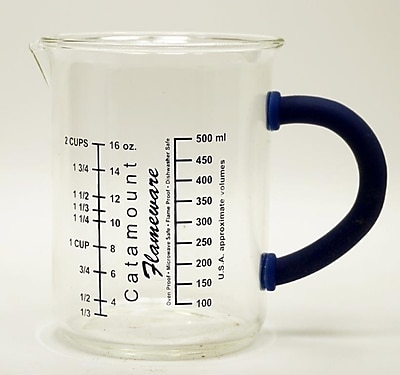 Catamount Glass 2 Cup Glass Measuring Cup w/ Handle; Blue WYF078278938481