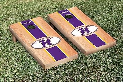Victory Tailgate NCAA Hardcourt Striped Version Cornhole Game Set; Hunter College Hawks