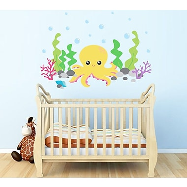 Wall Decal Source Octopus Under the Sea and ocean Reusable Wall Decal; Scheme A