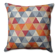 Pillow Perfect Triangle Grid Wool Throw Pillow; Citrus/Gray
