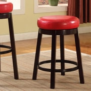 Roundhill Furniture 24'' Swivel Bar Stool (Set of 2); Red