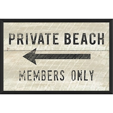 The Artwork Factory Private Beach Members Only Small Framed Textual Art