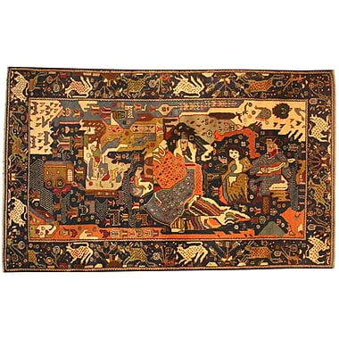 Herat Oriental Balouchi Hand-Knotted Navy/Orange Area Rug
