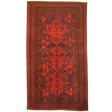 Herat Oriental Balouchi Hand-Knotted Red/Blue Area Rug