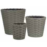 PrideGardenProducts Vimini 3-Piece Vinyl Pot Planter Set; Gray