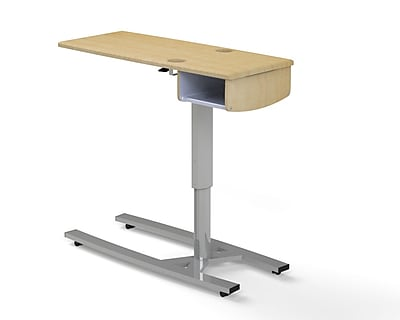 "MedViron Hospital Overbed Table, 46"" Width, 1 Shelf,  Cupholders,  Fusion Maple (Z16-1104-K050)"