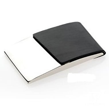 Elegance Business Card Case, Black PU/Nickel