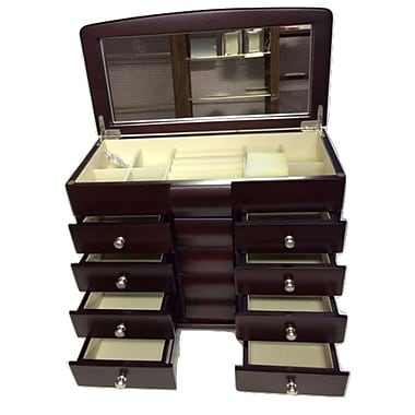 Elegance Jewellery Box, 4 Drawers, Anti-Tarnish Felt, Cappuccino