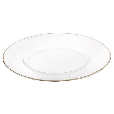 Elegance – Ensemble de 4 sous-assiettes à rebord argenté de 13 po