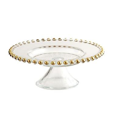 Elegance – Assiette à gâteau de 8 po sur pied à billes dorées
