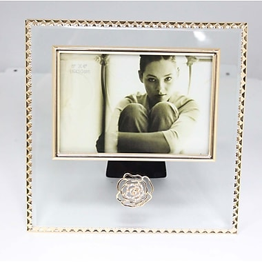 Elegance Glitzy Rose Crystal Photo Picture Frame, 6
