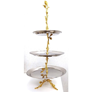 Elegance Gilt Leaf Hammered Stainless 3-Tier Tray