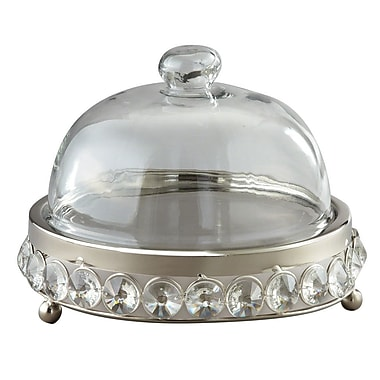 Elegance Nickel Plated Cheese Tray with Glass Beads