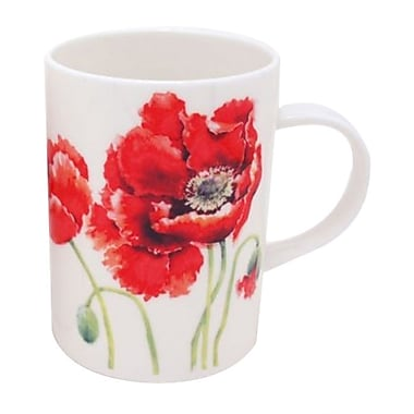 Roy Kirkham Lancaster Mug, Garden Poppy, Set of 6