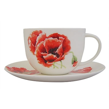 Roy Kirkham Breakfast Cup/Saucer, Garden Poppy, Set of 2