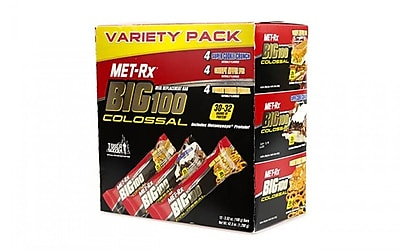 metRX Big 100 Colossal Meal Replacement Bar Variety Pack, 3.52 oz, 12 Count
