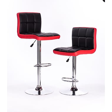 AttractionDesignHome Adjustable Height Swivel Bar Stool (Set of 2); Red