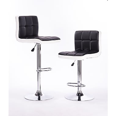 AttractionDesignHome Adjustable Height Swivel Bar Stool (Set of 2); White