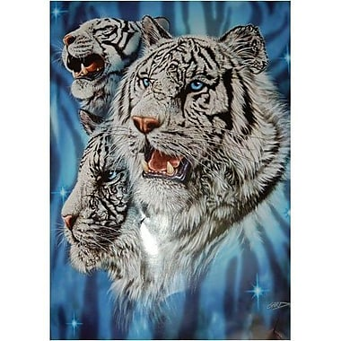 Ben and Jonah Royal Plush Extra Heavy Queen Size Fierce White Tigers Blanket