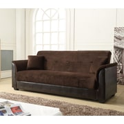 NathanielHome Convertible Sofa; Chocolate