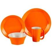 ColorUs China Glycon 16 Piece Dinnerware Set; Orange