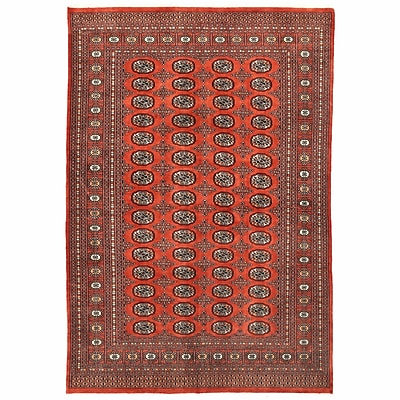 Herat Oriental Tribal Bokhara Hand-Knotted Rust Area Rug