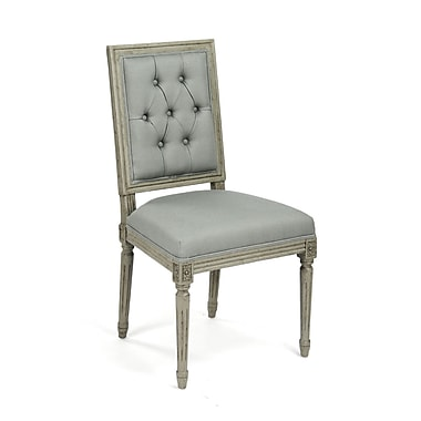 Zentique Louis Upholstered Dining Chair; Grey / Green