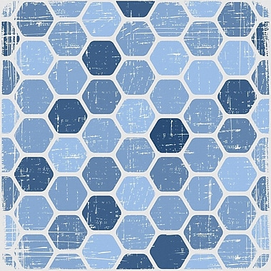 Marmont Hill 'Blue Honeycomb' Painting Print on Wrapped Canvas; 32'' H x 32'' W x 1.5'' D