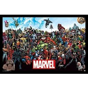 Buy Art For Less Framed Marvel Comic Characters the Lineup 34x22.5 Art Print Poster Wall Decor
