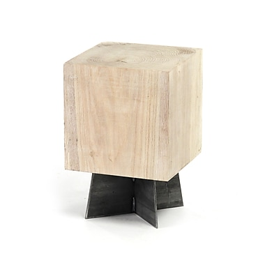 Zentique Inc. Solid Oak Stool; Bleached