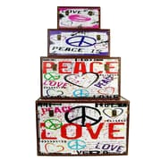 Firefly Home Collection 4 Piece Peace and Love Wooden Box Set