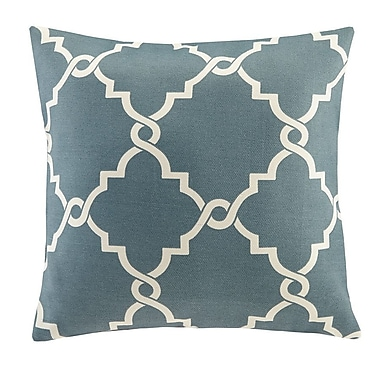 Madison Park Saratoga Fretwork Print Throw Pillow; Seafoam
