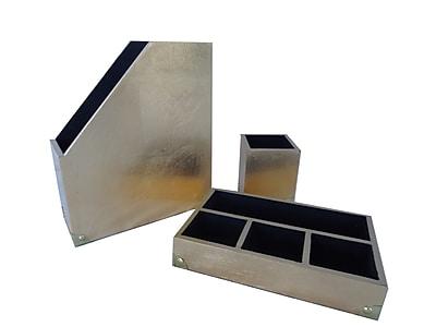 Cheungs 3 Piece Leaf Desk Organizer Set; Gold