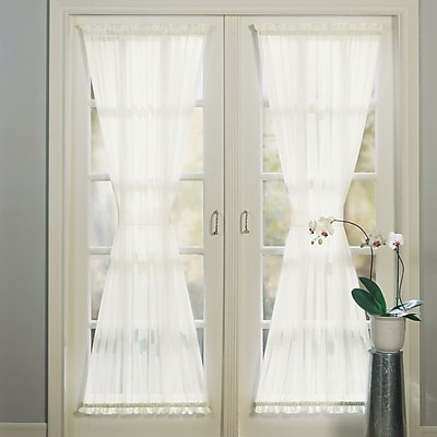 No. 918 Sheer Voile Solid Sheer Rod Pocket Single Curtain Panel; Eggshell