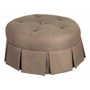 LefflerHome Ava Round Pleated Upholstered Ottoman; Dark Brown