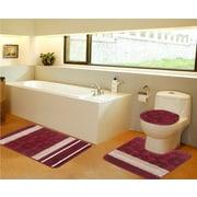Daniels Bath 3 Piece Bath Mat Set; Burgundy