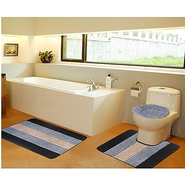 Daniels Bath 3 Piece Bath Mat Set; Gray