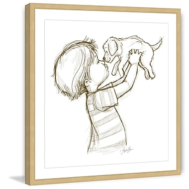 Marmont Hill 'Boy Loves Puppy' by Phyllis Harris Framed Painting Print; 12'' H x 12'' W x 1.5'' D