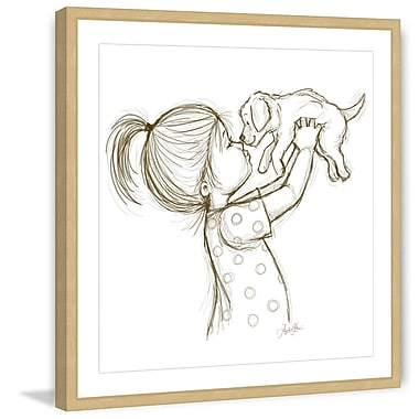 Marmont Hill 'Girl Loves Puppy' by Phyllis Harris Framed Painting Print; 24'' H x 24'' W x 1.5'' D