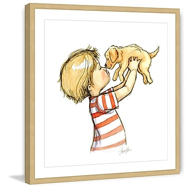Marmont Hill 'Puppy Loves Boy' by Phyllis Harris Framed Painting Print; 12'' H x 12'' W x 1.5'' D