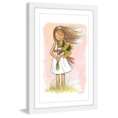 Marmont Hill 'Sunflower Girl' by Phyllis Harris Framed Painting Print; 24'' H x 16'' W x 1.5'' D