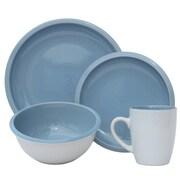 Melange 16 Piece Contempo Cantina 2-Tone Stoneware Dinnerware Set; Aqua