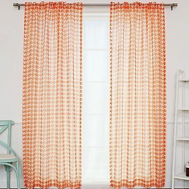 Best Home Fashion, Inc. Plaid & Check Sheer Rod Pocket Curtain Panels (Set of 2); Orange