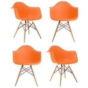 eModern Decor Mid Century Modern Scandinavian Arm Chair (Set of 4); Orange