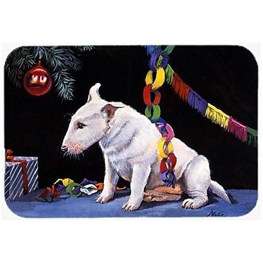 Caroline's Treasures Bull Terrier Under the Christmas Tree Glass Cutting Board