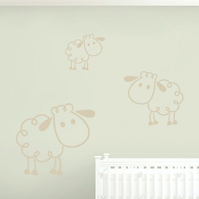 SweetumsWallDecals 3 Piece Sheep Wall Decal Set; Beige