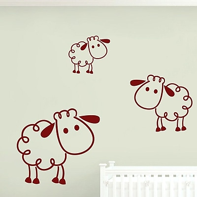 SweetumsWallDecals 3 Piece Sheep Wall Decal Set; Cranberry